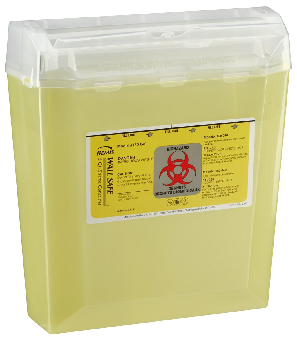 Bemis Healthcare 150040-24 5 quart Wall safe Sharps Container, Translucent Yellow (Pack of 24)