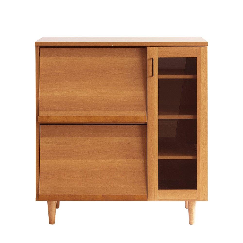 エアリゾーム レンジ台 食器棚 レンジラック フラップ扉 大型レンジ対応 Brace Kitchen cabinet(ブレス キッチンキャビネット) ライトブラウン B079BGFY1B 14990 ライトブラウン ライトブラウン