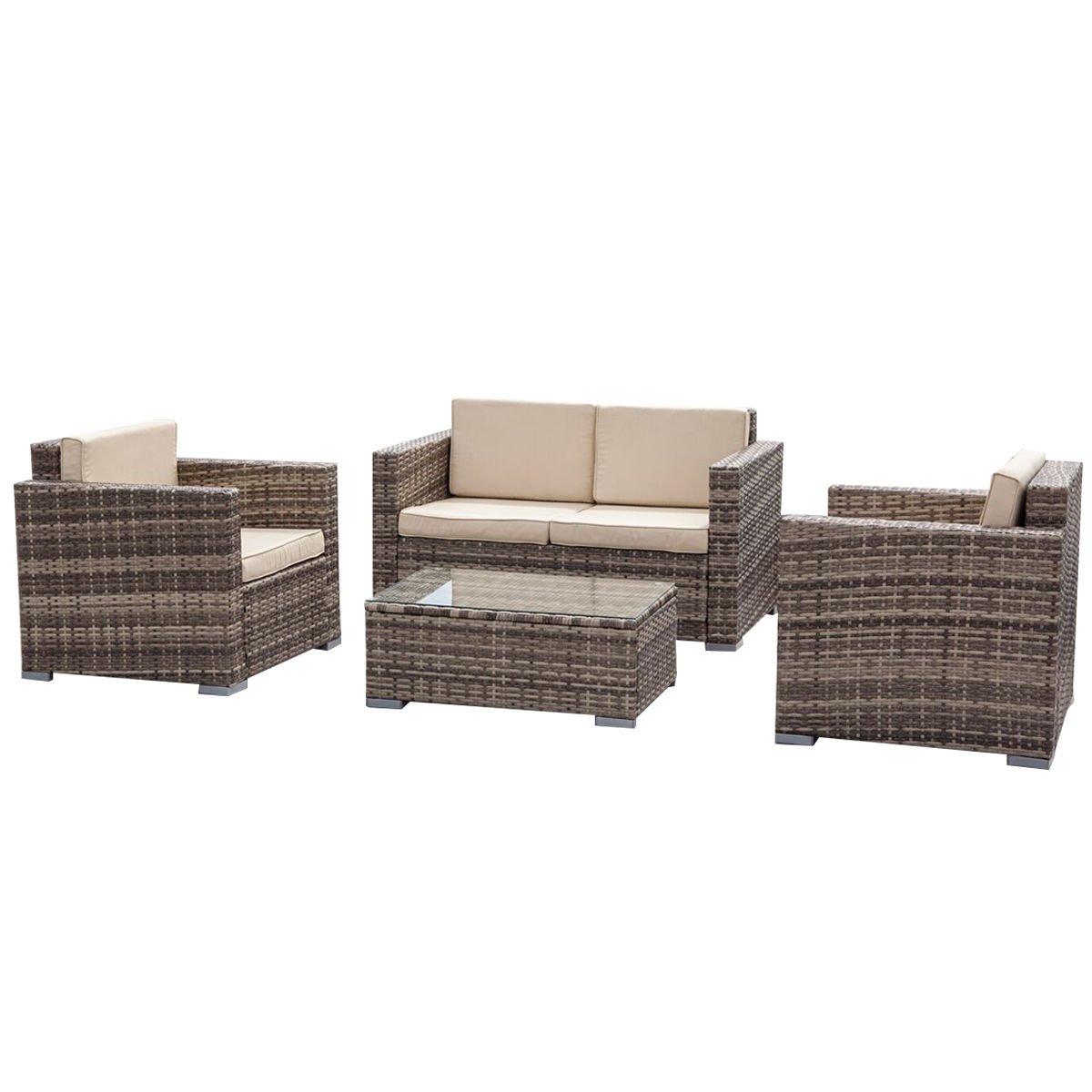 Galvanized Patio Furniture.Amazon Com Furniture Set 4pc Outdoor Patio Rattan Sectional