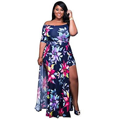 229945660f4c VERTTEE Maxi Women's Dress Boat Neck Short Sleeve Plus Size High Waist Print  Causal Party Club Cocktail Spilt Women Dress at Amazon Women's Clothing  store: