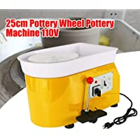 DONSU Pottery Wheel 25cm Pottery Forming Machine 110V 250W Electric Pottery Wheel DIY Clay Tool with Tray for Ceramic Work Ceramics Clay Art Craft for School Pottery Bar Home (Yellow)