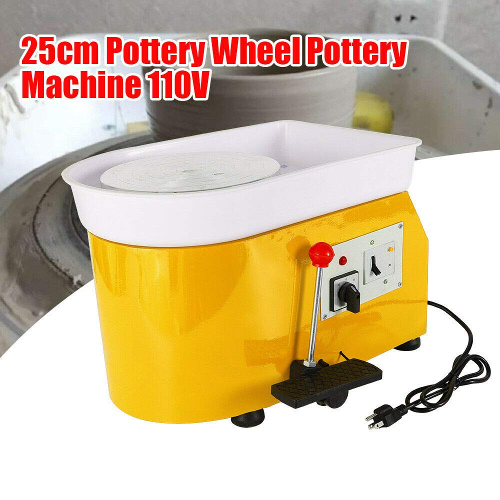 DONSU Pottery Wheel 25cm Pottery Forming Machine 110V 250W Electric Pottery Wheel DIY Clay Tool with Tray for Ceramic Work Ceramics Clay Art Craft for School Pottery Bar Home (Yellow) by DONSU
