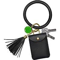 Keychain Bracelet, COCASES Key Ring Bracelet and Credit Card Pocket Leather Tassel Wrist Bangle Key Chains for Women Girl