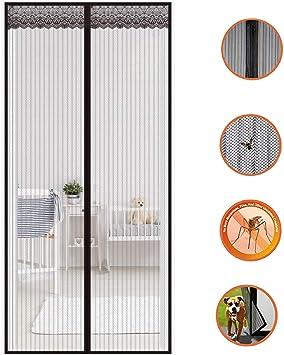 Moskitonetz T/üren Schwarz Magnet Premium Slim F/ür Terrassent/ür,Black,70x200cm Insektenschutz Fliegenvorhang Balkont/ür Ohne Bohren K/ürzbar Automatisch Verschlie/ßen 28x79inch Mit Klettband K/ürzbar