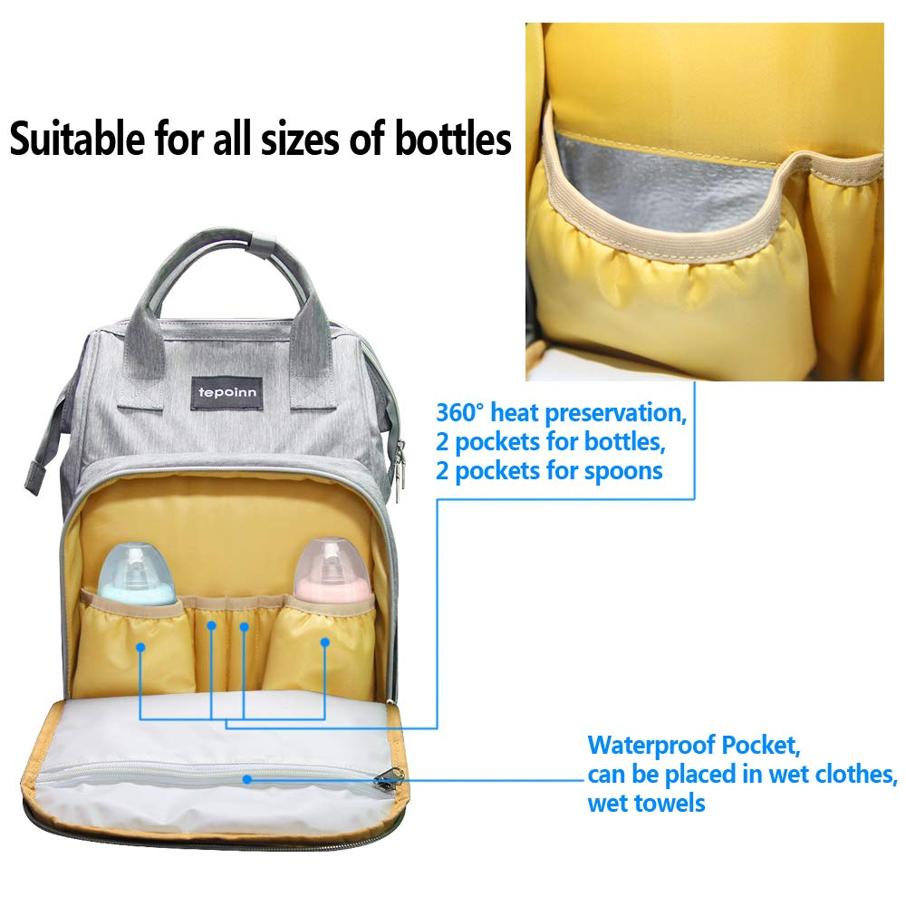 Tepoinn Multi-Function Baby Changing Bag with Large Capacity Waterproof Nappy Changing Bag for Mom & Dad