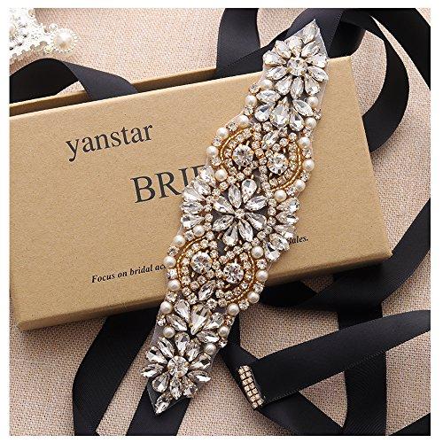 Yanstar Black Beads Wedding Belts Sashes Handmade Gold Crsytal Belt Gor Bridal Gowns