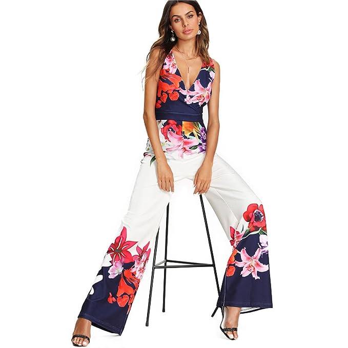 MANGEEN Flower Print Zip Back Sleeveless Jumpsuit Elegant Sleeveless Wide Leg Jumpsuit