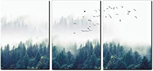 3 Pcs Large Nature Forest Landscape Wall Art Canvas Misty Forests of Evergreen Coniferous Trees Print Poster Modern Art Decor Painting for Home Decorations(Unframed,12x16 inches)