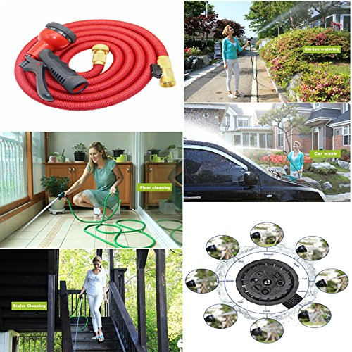 Hulorry Flexible Garden Hose,Expandable Hose 50FT Magic For Car Water Gardening Watering Brass Connector 8-pattern Nozzle for Watering Plants,Showering Pets,Cleaning Patio,Cleaning Car by Hulorry (Image #2)
