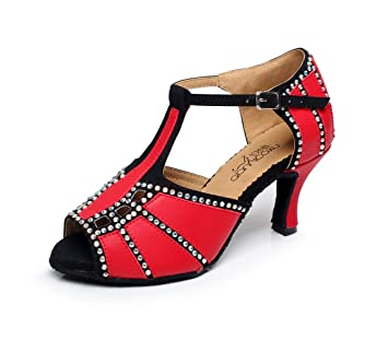 JSHOE Frauen Kristalle Sparking Satin Latin Salsa Tanzschuhe Tango/Tee/Samba/Modern/Jazz Schuhe Sandalen High