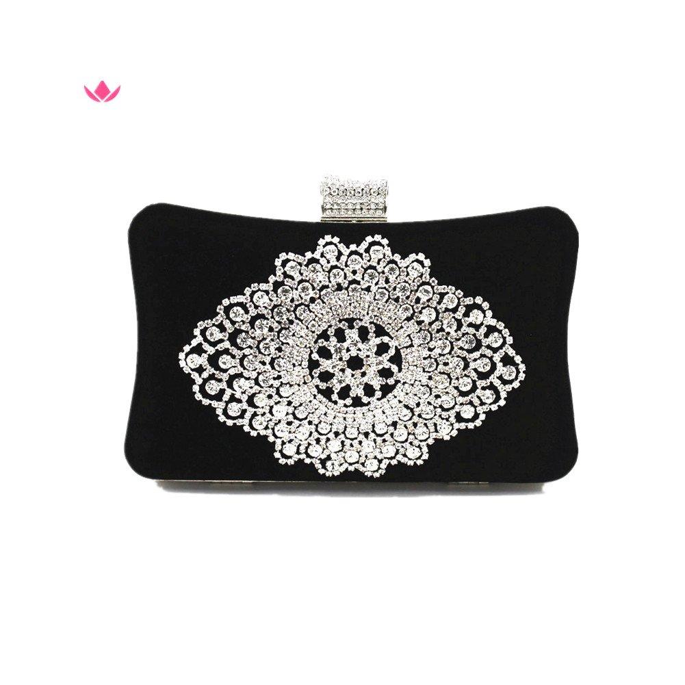 Shiratori Suede Clutch Purses for Women Rhinestone Crystal Clutch Bag,Black