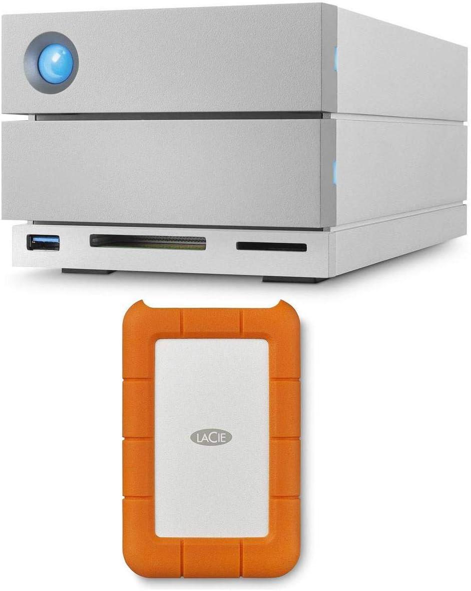 LaCie 2big Dock Thunderbolt 3 8TB (2X 4TB) Dual-Disk RAID Drive, USB 3.1 (Type C) & USB 3.0, 7200 RPM, Up to 440MB/s Speed, Bundle Rugged USB-C 3.1 2TB External Hard Drive