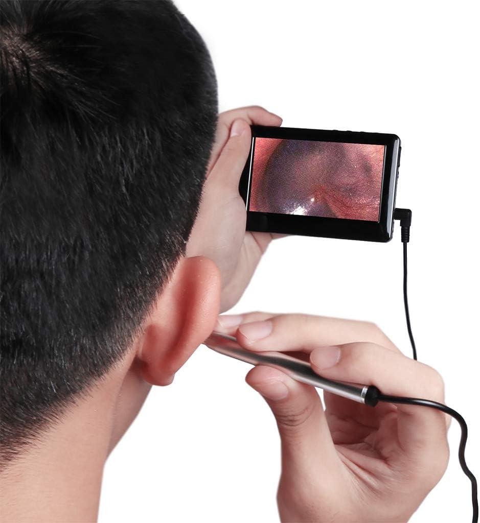 Otoscopio USB Con Pantalla De 4,3 Pulgadas, CáMara De InspeccióN Del OíDo, Alcance Del OíDo Con 6 LED Endoscopio De Limpieza De Orejas, Plug And Play, Plata