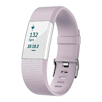 Correa de repuesto ajustable para reloj inteligente Fitbit Charge 2, de silicona suave de