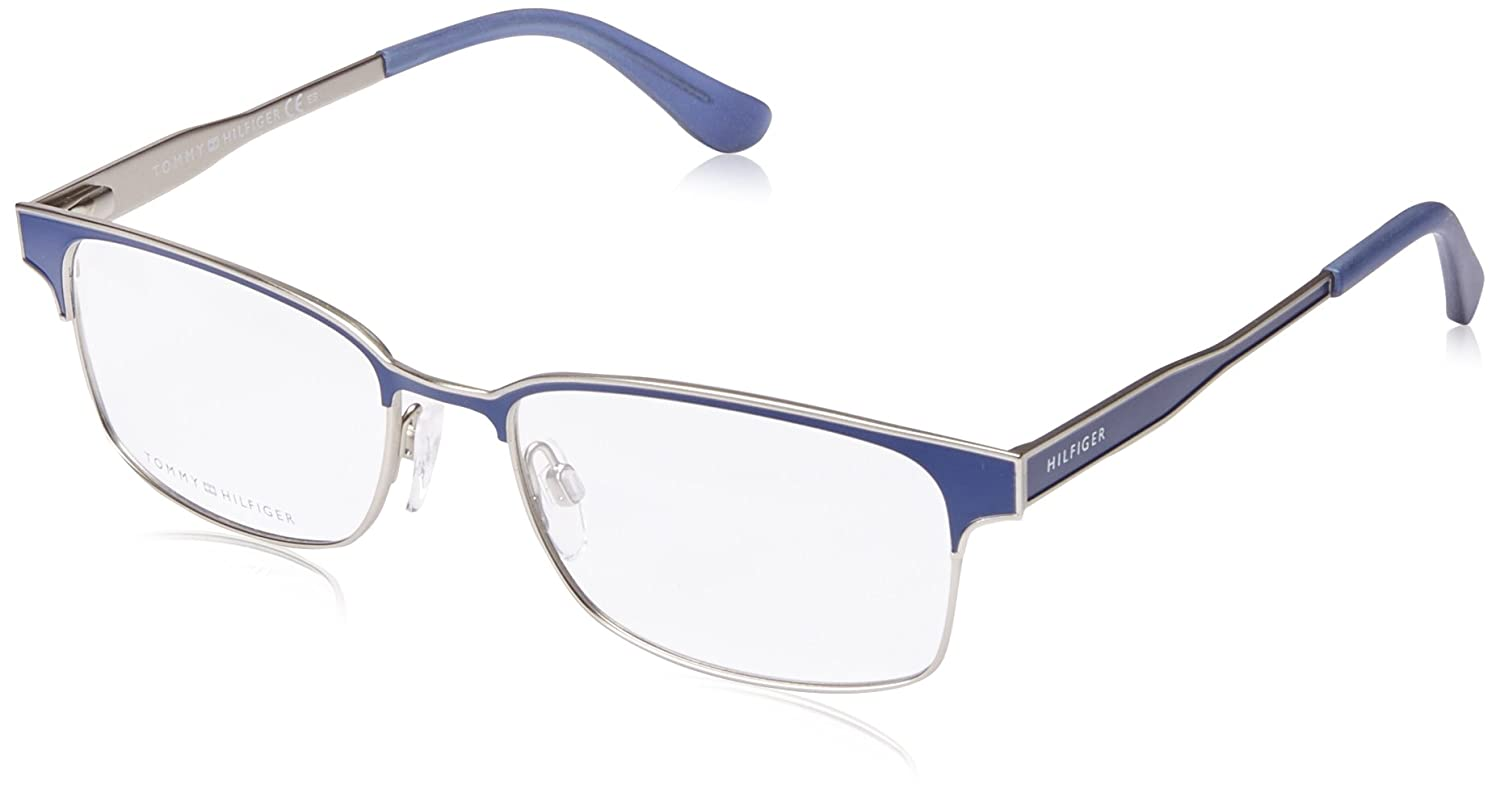648ded3ea Tommy Hilfiger - TH 1357, Geometric, metal, men, MATTE BLUE SILVER(K2F),  53/17/145 at Amazon Men's Clothing store: