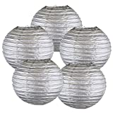 Just Artifacts 16'' Silver Chinese Japanese Paper Lanterns (Set of 5) - Click for more Chinese/Japanese Paper Lantern Colors & Sizes!