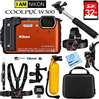 Nikon COOLPIX W300 16MP 4k Ultra HD Waterproof Digital Camera Orange (26524) with 32GB Memory Card, Cleaning Kit, BLTCHM1 Clip Head Mount Kit, Yellow Floating Bobber Handle & More