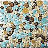 Pebble Porcelain Tile Fambe Turquoise Green Beige Shower Floor Pool Alley Tiles Mosaic TSTGPT005 (11 Square Feet)