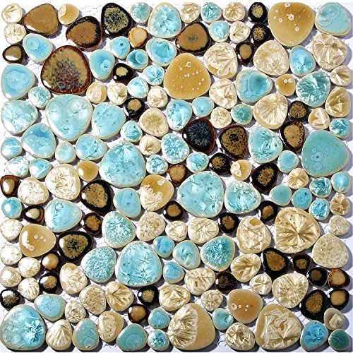 Pebble Porcelain Tile Fambe Turquoise Green Beige Shower Floor Pool Alley Tiles Mosaic TSTGPT005 (11 Square Feet) by TST MOSAIC TILES