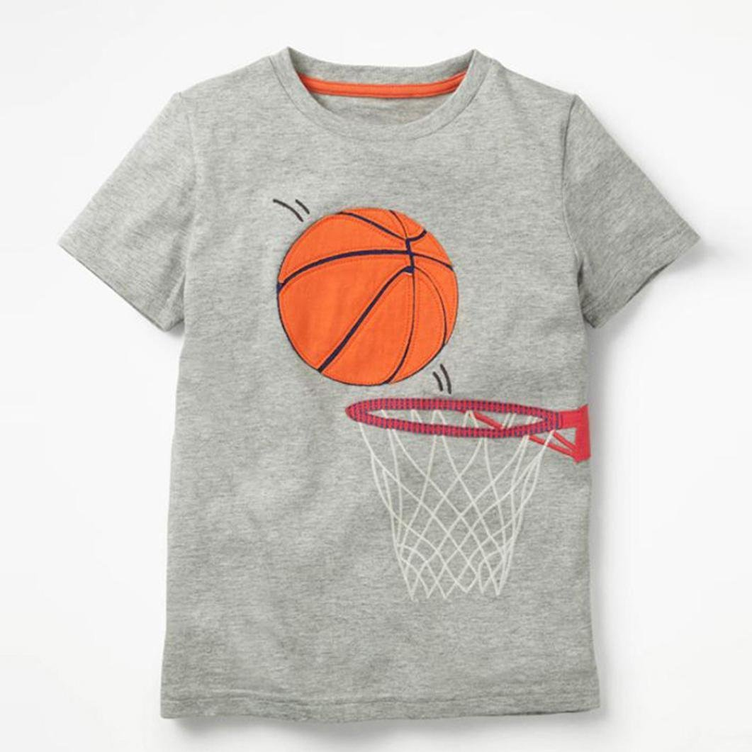 a785b04b4 Amazon.com: Clearance Toddler Kids Baby Boys Girls Clothes Cotton Short  Sleeve Cartoon Basketball Tops T-Shirt Blouse 2-8 Years: Clothing
