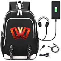 Universal Portable Student Schoolbag, Chad Wild Clay Backpack for Kids Vintage Canvas Backpack Hiking Travel Rucksack with USB Charging Port and Music Port
