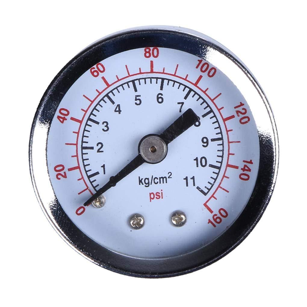 Aria Acqua Gas compressore Idraulico manometro di Pressione Tester Lorsoul 0-160psi Supporto del Filetto del manometro