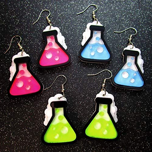 Neon Science Chemistry Beaker Flask Dangle Earrings, Glows in Black Light Rave Earrings, Scientist Jewelry