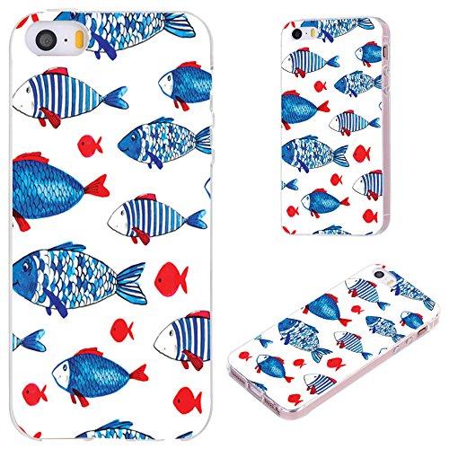 iPhone SE Case,iPhone 5S Case,iPhone 5 Case,VoMotec [Cute Series] Anti-Scratch Slim Flexible Soft TPU Protective Skin Cover Case iPhone 5 5S SE,Funny red Blue Watercolor Fish
