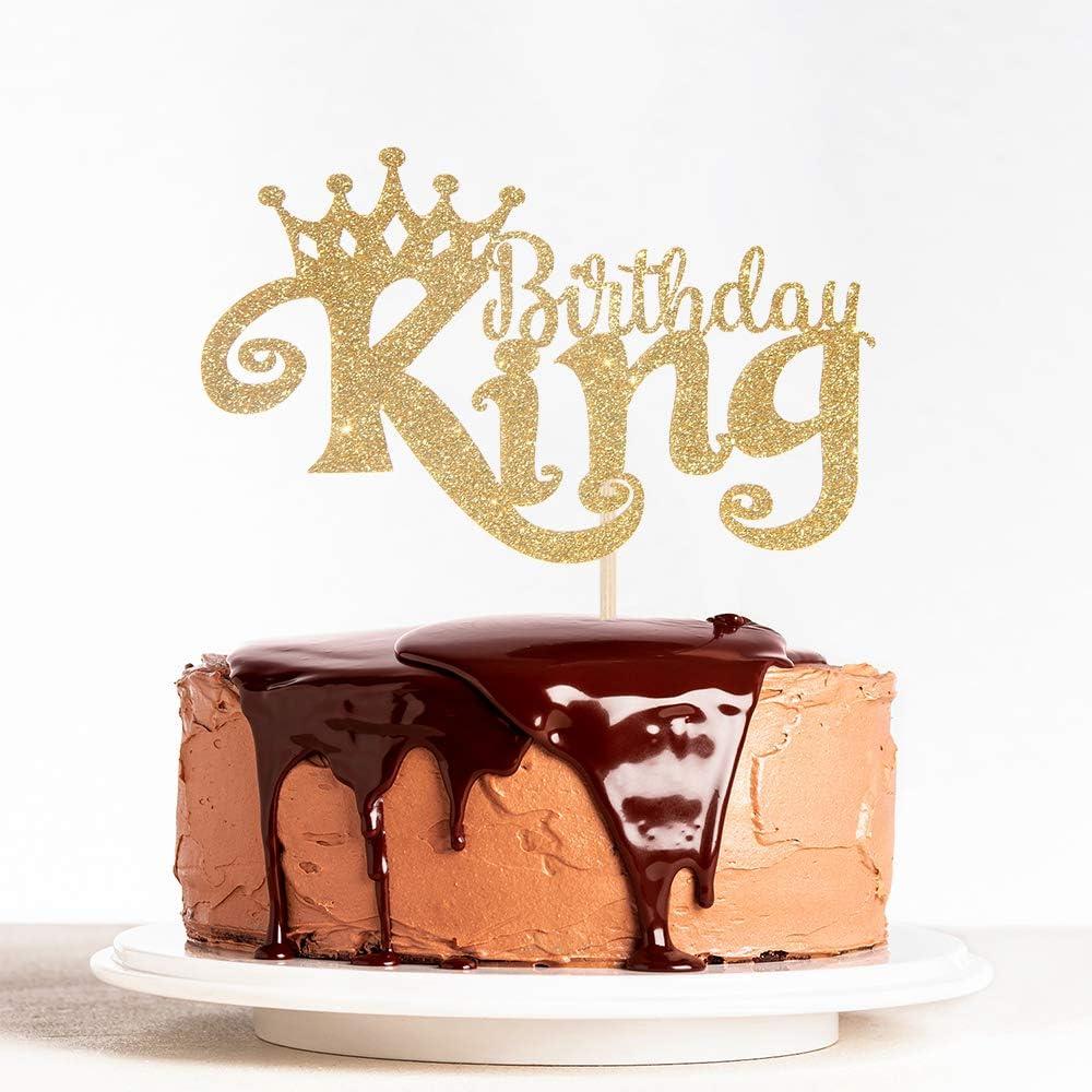 Gold Glitter King Birthday Cake Topper for Boy 1st 3rd 10th 16th 18th 20th 21st 25th 29th 30th 40th 50th Birthday, Man Boy Prince Birthday Party Decorations,Happy Birthday Cake Topper