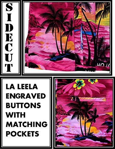 La Leela* Bouton de Plage en Bas Manches Courtes Chemise Hawaïenne Aloha Casual 7XL Ros