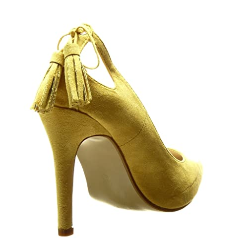Angkorly Damen Schuhe Pumpe - Stiletto - Sexy - Bommel - Fransen Stiletto High Heel 10 cm - Gelb C61-03 T 41 kUfOcLjGXs