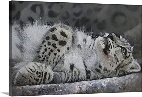Snow Leopard Reclining Canvas Wall Art Print