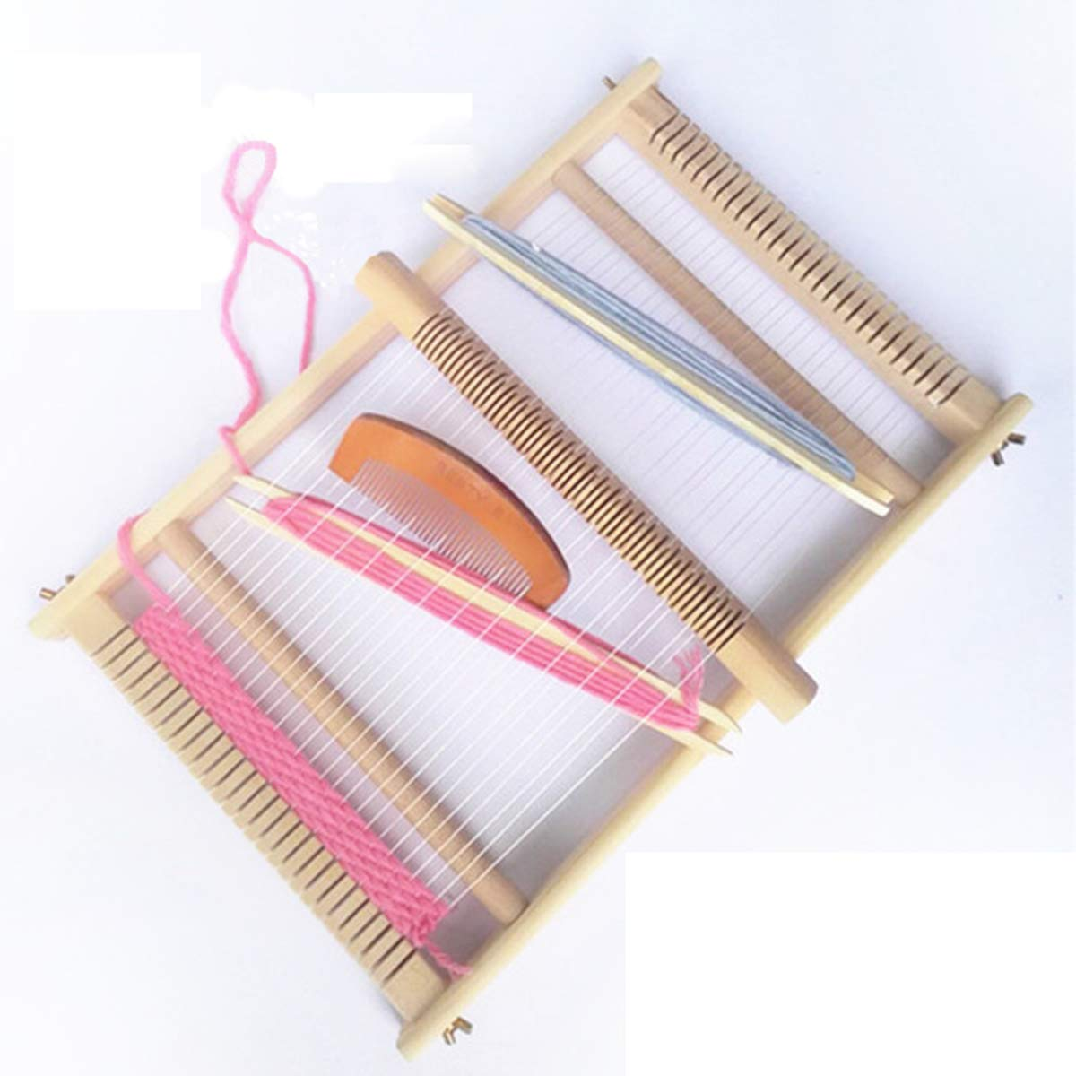 vismiles Wooden Loom Kit Hand-Knitted Machine DIY Weaving Children Safety