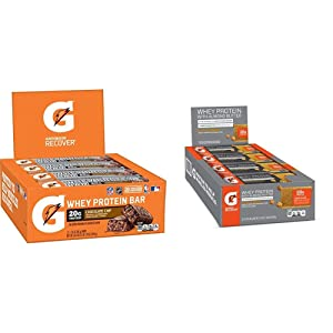 Gatorade Whey Protein Recover Bars, Chocolate Chip, 2.8 ounce bars (12 Count) & Whey Protein With Almond Butter Bars, Salted Caramel, 12 Count