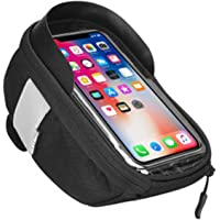 Bike Phone Front Fram Bag - Waterproof Bicycle Top Tube Cycling Phone Mount Pack Phone Case with Transparent Touch…