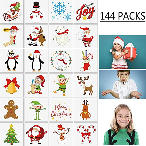 Holiday Tattoos - Moon Boat 144PCS Assorted Christmas Temporary Tattoos Stocking Stuffers - Xmas Kids Goodie/Gift bags favors