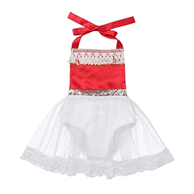 iixpin Robe de Princess Bébé Fille Robe de Baptême Déguisement Cadeau  Anniversaire Barboteuse Bretelles Lace Dentelle 487467a087a