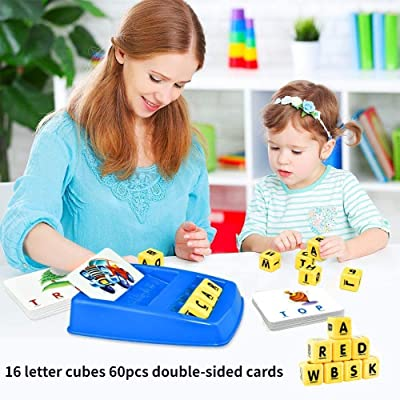 Canva Matching Letter Game,16 Letter Cubes 60x2 Word Cards with 3 and 4 Letter Words. Cubes Letter Spelling and Reading Game for Preschool Kindergarten Matching, Educational Learning Games for Kids: Toys & Games
