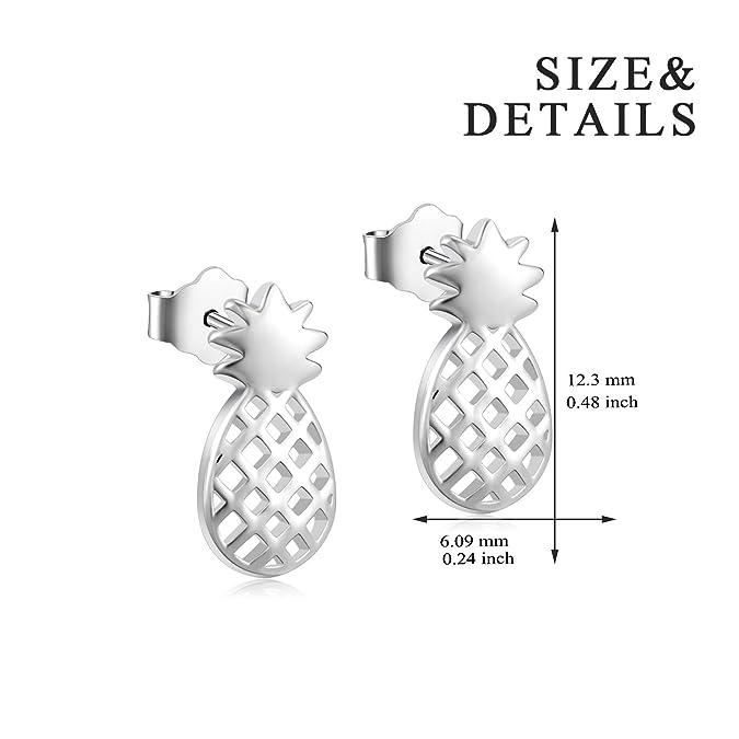 b1b694041 Amazon.com: YFN Sterling Silver Pineapple Stud Earrings Jewelry for Women  Girl kid Ear Stud: Jewelry