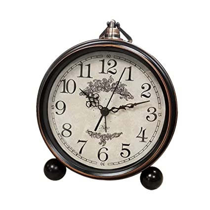 decorative desk clocks battery alarm clock for bedroom antique mantel large display decorative desk clocks non ticking amazoncom