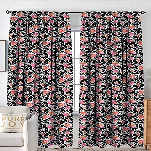 Curtains for Bedroom Abstract,Paisley Style Pattern of Water Splashes Ombre Motifs with Floral Influences,Coral Pink Black,Darkening and Thermal Insulating Draperies 54