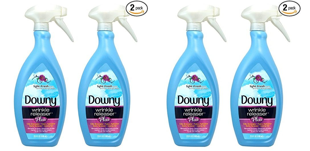 Downy Wrinkle Release Spray Plus, Static Remover, Odor Eliminator, Fabric Refresher and Ironing Aid, Light Fresh Scent, 33.8 Fluid Ounce (Pack of 2) (PACK OF 4)