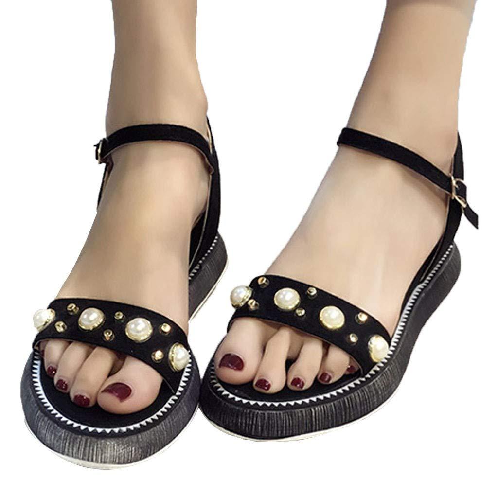Orangeskycn Women Sandals Summer Wild Platform Bottom Retro Roman Strappy Sandals Pearl Wedge Open Toe Casual Shoes Black by Orangeskycn Women Sandals (Image #3)