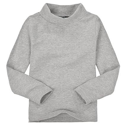 Zantec Camiseta Unisex de cuello alto para niños Camiseta de algodón de manga  larga para niños a1dd0dee34b3e