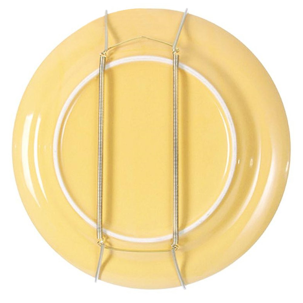Plate Hanger with Tip Protectors for the Wall Display, 8'' to 14'' Invisible Spring Wire Expandable Dish Holders Display Metal Hanger Hook for 7.8'' to 16.5'' Decorative Tray (8''-Pack of 10)