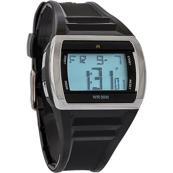 McDonald s Gafas de Hombre | negro Racer Digital reloj deportivo con elegante plata bisel