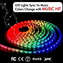 LED Strip Lights LED Lights Sync To Music 16.4Ft/5M LED Light Strip 300 LED Lights SMD 5050 Waterproof Flexible RGB Strip Lights IR Controller+12V 5A Power By DotStone