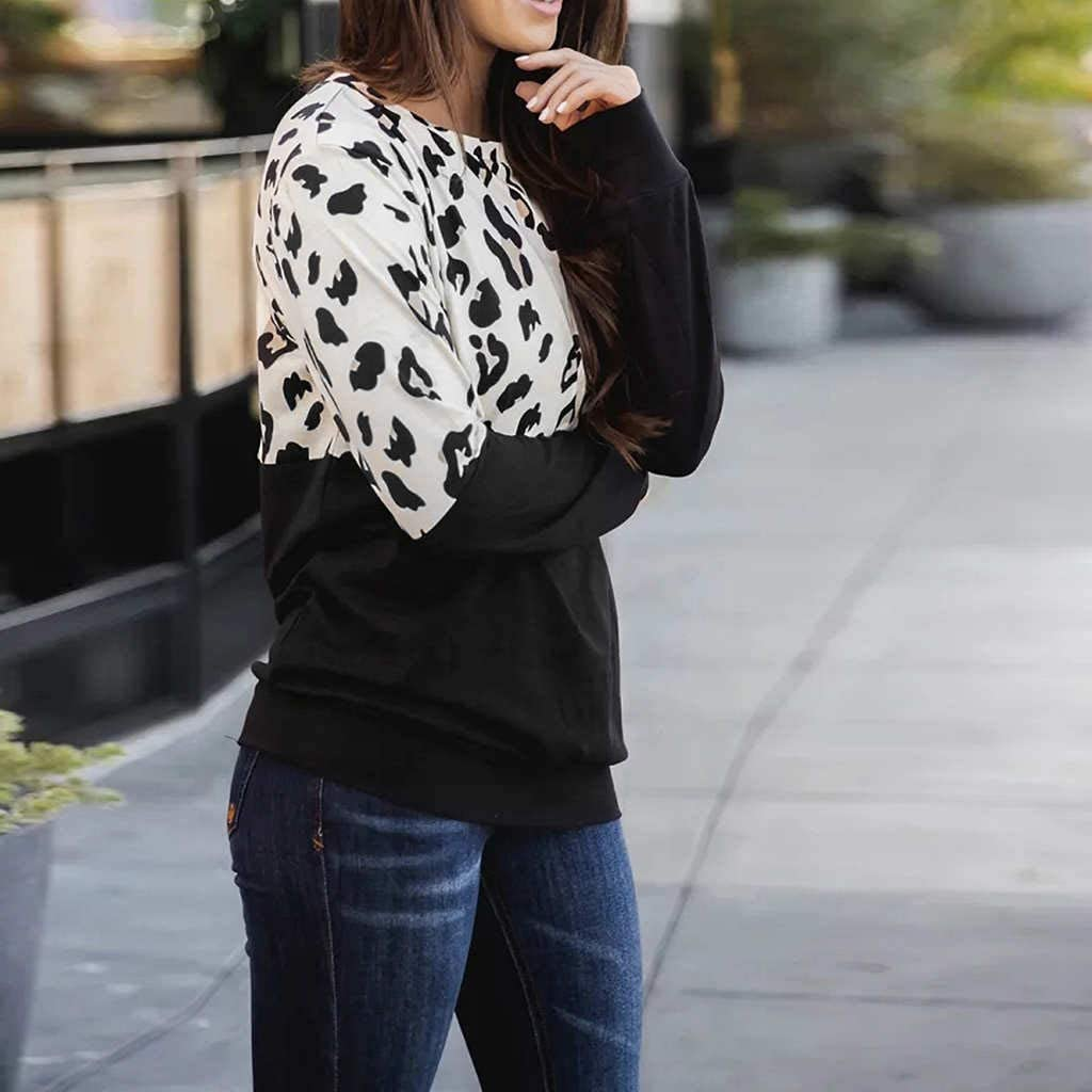 Eoeth Women Tracksuits Leisure O-Neck Long Sleeves Casual Leopard Print Patchwork Blouse Tops Shirts T-Shirts Pullover
