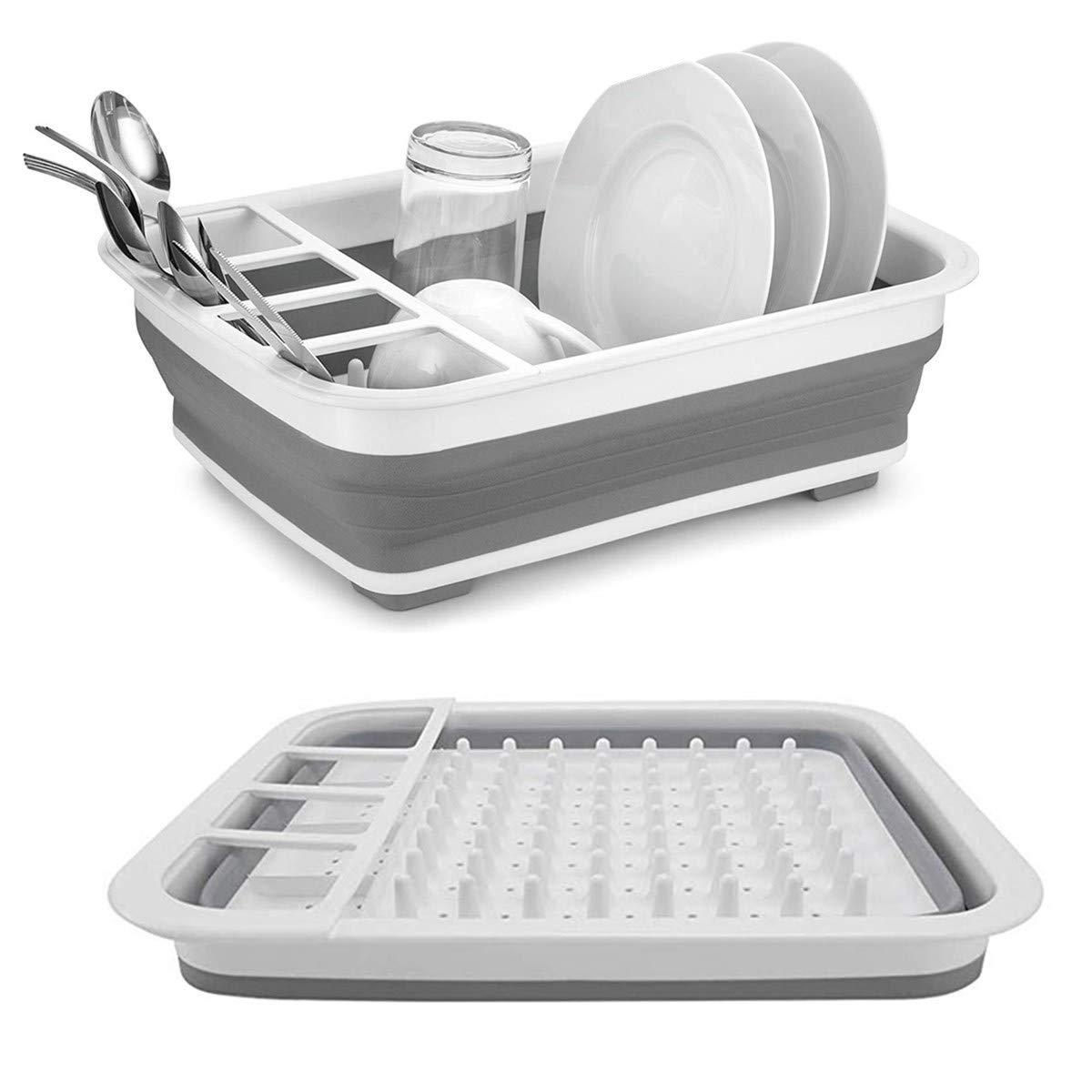 Collapsible Drying Dish Storage Rack Portable Dinnerware Organizer Space Saving Kitchen