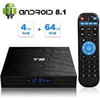 Android 8.1 TV BOX, T9 Smart Box with 4GB RAM 64GB ROM RK3328 Quad Core 2.4GHz/5GHz Dual Band WiFi 4K Resolution H.265 Bluetooth 4.1 USB 3.0